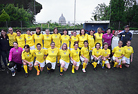 """The women's soccer team of Vatican City. 26 may 2019<br /> <br /> Women's football arrives at the Vatican, with what can be considered in all respects the women's national football team of the Holy See. The Vatican representative, announced in recent weeks, made its debut yesterday afternoon, Sunday 26 May, in the sports center of the Knights of Columbus, against the Roma women's team of Roma.<br /> The girls that make up the team are all Vatican employees or wife and daughters of staff of the Holy See, plus some players from the Bambino Gesù hospital team who joined for this 11-a-side football match. «We are born in an amateur way - he tells the attacker and captain of the Vatican Eugene Tcheugoue - and playing together represents for us above all a way to get to know and be together ».<br /> <br /> The young soccer player, a graduate in theology and a native of Cameroon, has no doubts about the great important symbolism of the team: """"Many of us are mothers even before they are employees or at least daughters and wives, so in the first place for us is the metaphor of football as a gym of life. Sport in general - says Eugene Tcheugoue - conveys a fundamental message, both for the new generations and in particular for women """".<br /> attaccante del Camerun, Eugene Tcheugoue. La rosa completa delle calciatrici è la seguente: Cristina Albini, Chiara Armenti, Claudia Bassetti, Barbara De Filippi, Federica Di Lorenzo, Orietta Ferretti, Francesca Folino, Francesca Martinelli, Desire Pallotta Nardi, Rita Pietringa, Laura Pucciarmati, Eugenie Tcheugoue, Elisa Tomassini, Maura Turoli e Ilaria Valentini. Ad allenare la squadra è Gianfranco Guadagnoli, mentre il responsabile di questa selezione, come per le altre del Vaticano, è Danilo Zennaro, leader dell'Associazione Sport in Vaticano."""