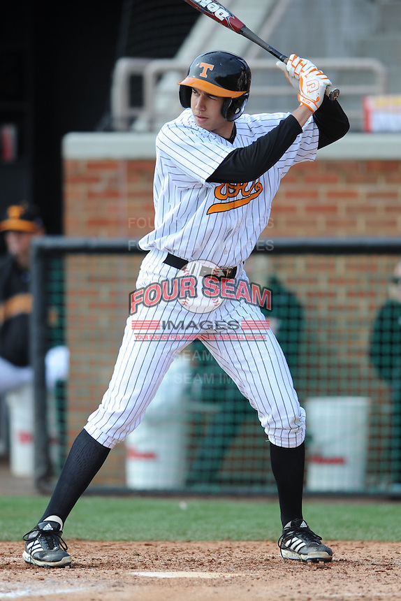 Tennessee Volunteers pinch hitter Vance Vizcaino #8 awaits a pitch during a game against  the Arizona State Sun Devils at Lindsey Nelson Stadium on February 23, 2013 in Knoxville, Tennessee. The Volunteers won 11-2.(Tony Farlow/Four Seam Images).