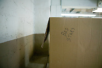 21 June 2005 - Oaks, PA - A box used to hold defective stars used on American flags stands at the Annin & Co. flag manufacturing plant in Oaks, PA. Photo Credit: David Brabyn.