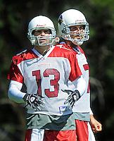 Jul 31, 2009; Flagstaff, AZ, USA; Arizona Cardinals quarterbacks (13) Kurt Warner and (7) Matt Leinart during training camp on the campus of Northern Arizona University. Mandatory Credit: Mark J. Rebilas-