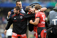 Joe van Niekerk of RC Toulon shows how much it means as he hugs Jonny Wilkinson of RC Toulon after winning the Heineken Cup Final between ASM Clermont Auvergne and RC Toulon at the Aviva Stadium, Dublin on Saturday 18th May 2013 (Photo by Rob Munro)