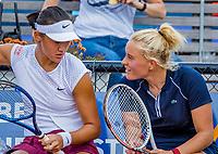 Amstelveen, Netherlands, 7 Juli, 2021, National Tennis Center, NTC, Amstelveen Womans Open, Doubles: Lexie Stevens (NED) and Xiyu Wang (CHN) (L)<br /> Photo: Henk Koster/tennisimages.com