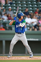 Left fielder Manny Olloque (1) of the Lexington Legends at bat during a game against the Greenville Drive on Saturday, September 1, 2018, at Fluor Field at the West End in Greenville, South Carolina. Greenville won, 9-6. (Tom Priddy/Four Seam Images)