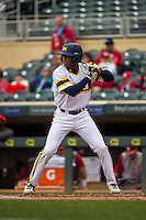 Johnny Slater (25) of the Michigan Wolverines bats during a 2015 Big Ten Conference Tournament game between the Michigan Wolverines and Indiana Hoosiers at Target Field on May 20, 2015 in Minneapolis, Minnesota. (Brace Hemmelgarn/Four Seam Images)