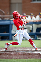 Maryland Terrapins shortstop Benjamin Cowles (1) swings the bat against the Michigan Wolverines on May 23, 2021 in NCAA baseball action at Ray Fisher Stadium in Ann Arbor, Michigan. Maryland beat the Wolverines 7-3. (Andrew Woolley/Four Seam Images)
