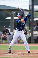 San Diego Padres outfielder Mason House (58) at bat during an Instructional League game against the Chicago White Sox on September 26, 2017 at Camelback Ranch in Glendale, Arizona. (Zachary Lucy/Four Seam Images)