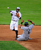 22 June 2009: Vermont Lake Monsters' shortstop Dani Arias in action against the Tri-City ValleyCats at Historic Centennial Field in Burlington, Vermont. The Lake Monsters defeated the visiting ValleyCats 5-4 in extra innings. Mandatory Photo Credit: Ed Wolfstein Photo