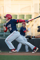 Jakson Reetz (21) of the Hagerstown Suns follows through on his swing against the Kannapolis Intimidators at Kannapolis Intimidators Stadium on May 4, 2016 in Kannapolis, North Carolina.  The Intimidators defeated the Suns 7-4.  (Brian Westerholt/Four Seam Images)