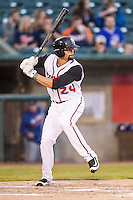 Lansing Lugnuts outfielder Josh Almonte (24) at bat against the South Bend Cubs on May 12, 2016 at Cooley Law School Stadium in Lansing, Michigan. Lansing defeated South Bend 5-0. (Andrew Woolley/Four Seam Images)