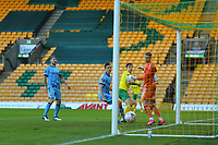 9th January 2021; Carrow Road, Norwich, Norfolk, England, English FA Cup Football, Norwich versus Coventry City; Jordan Hugill of Norwich City shoots and scores for 2-0 in the 7th minute