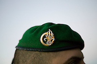 A member of the French Foreign Legion wears the corps' green beret during a full scale multi-force exercise in  Tarbes, France, 11 December 2007.