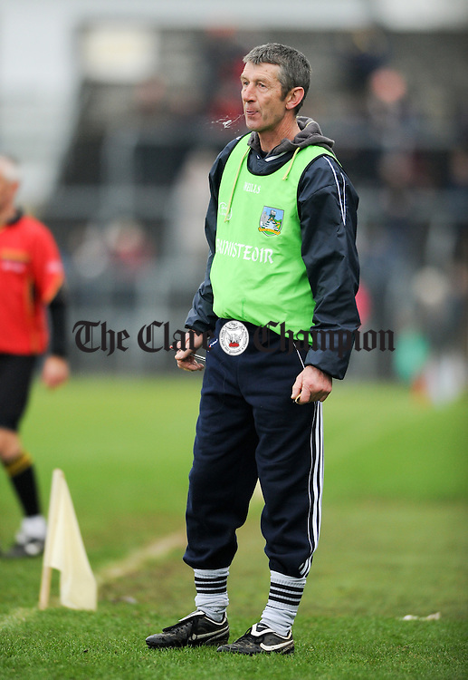 Na Piarsaigh manager Sean Stack on the sideline during the the Munster Club Championship final against his home club Sixmilebridge at Cusack park. Photograph by John Kelly.