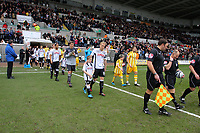 ATTENTION SPORTS PICTURE DESK<br /> Pictured: Garry Monk of Swansea City leads out his team<br /> Re: Coca Cola Championship, Swansea City Football Club v Newcastle United at the Liberty Stadium, Swansea, south Wales. 13 February 2010