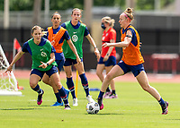 HOUSTON, TX - JUNE 12: Becky Sauerbrunn #4 of the USWNT dribbles the ball during a training session at University of Houston on June 12, 2021 in Houston, Texas.