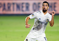 CARSON, CA - OCTOBER 07: Sebastian Lletget #17 of the Los Angeles Galaxy heads a ball during a game between Portland Timbers and Los Angeles Galaxy at Dignity Heath Sports Park on October 07, 2020 in Carson, California.