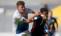 GUADALAJARA, MEXICO - MARCH 18: Fernan Faerron #19 of Costa Rica battles with Jonathan Lewis #7 of the United States during a game between Costa Rica and USMNT U-23 at Estadio Jalisco on March 18, 2021 in Guadalajara, Mexico.
