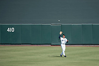 Salt River Rafters center fielder Corey Ray (2) of the Milwaukee Brewers organization, settles under a fly ball during an Arizona Fall League game against the Mesa Solar Sox on October 30, 2017 at Salt River Fields at Talking Stick in Scottsdale, Arizona. The Solar Sox defeated the Rafters 8-4. (Zachary Lucy/Four Seam Images)