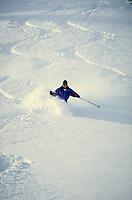 A lone skier cuts down an open slope of waist deep powder. Senior citizen. Darrell Rikli. Utah, Alta Ski Resort.