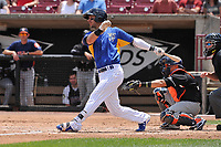 Wisconsin Timber Rattlers first baseman Weston Wilson (23) swings during a game against the Quad Cities River Bandits at Fox Cities Stadium on June 27, 2017 in Appleton, Wisconsin.  Wisconsin lost 6-5.  (Dennis Hubbard/Four Seam Images)