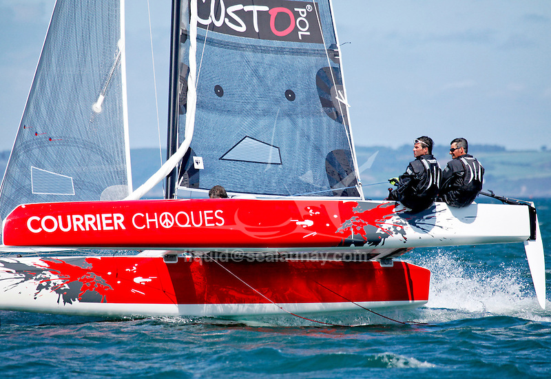 22 Diam 24 One Design at the Grand Prix Guyader, Bay of Douarnenez, Brittany, France.. The Diam 24OD is fast in light winds and confident in stronger breeze without the necessity for high level sporting prowess. The Diam 24 the new boat for the Tour de France à la Voile 2015.