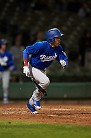 Rancho Cucamonga Quakes center fielder Jeren Kendall (3) starts down the first base line during a California League game against the Stockton Ports at Banner Island Ballpark on May 16, 2018 in Stockton, California. Rancho Cucamonga defeated Stockton 6-3. (Zachary Lucy/Four Seam Images)