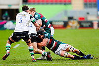 28th March 2021; Mattoli Woods Welford Road Stadium, Leicester, Midlands, England; Premiership Rugby, Leicester Tigers versus Newcastle Falcons; Harry Wells of Leicester Tigers tackles Ben Stevenson of Newcastle Falcons