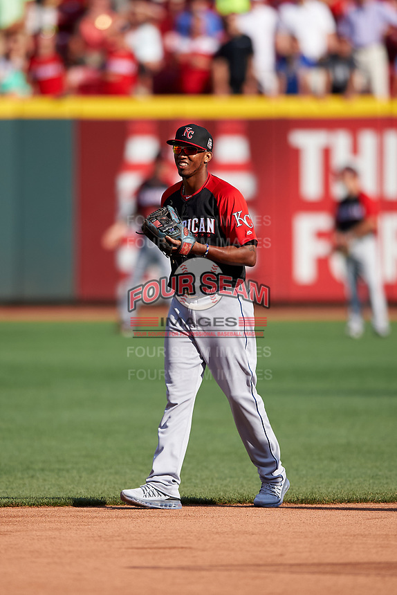 Kansas City Royals Alcides Escobar during MLB All-Star Game Practice on July 13, 2015 at Great American Ball Park in Cincinnati, Ohio.  (Mike Janes/Four Seam Images)
