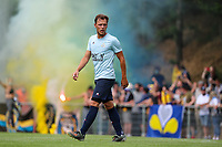 Senne Maaike Lynen (20) of Union pictured with the fans at the back with flares, during a preseason friendly soccer game between Tempo Overijse and Royale Union Saint-Gilloise, Saturday 29th of June 2021 in Overijse, Belgium. Photo: SPORTPIX.BE   SEVIL OKTEM