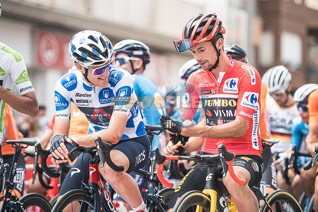 Polka Dot Jersey Pavel Sivakov (RUS) Ineos Grenadiers and race leader Red Jersey Primoz Roglic (SLO) Jumbo-Visma line up for the start of Stage 9 of La Vuelta d'Espana 2021, running 188km from Puerto Lumbreras to Alto de Velefique, Spain.    <br /> Picture: Unipublic/Charly Lopez | Cyclefile<br /> <br /> All photos usage must carry mandatory copyright credit (© Cyclefile | Charly Lopez/Unipuplic)