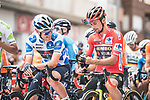 Polka Dot Jersey Pavel Sivakov (RUS) Ineos Grenadiers and race leader Red Jersey Primoz Roglic (SLO) Jumbo-Visma line up for the start of Stage 9 of La Vuelta d'Espana 2021, running 188km from Puerto Lumbreras to Alto de Velefique, Spain.    <br /> Picture: Unipublic/Charly Lopez   Cyclefile<br /> <br /> All photos usage must carry mandatory copyright credit (© Cyclefile   Charly Lopez/Unipuplic)