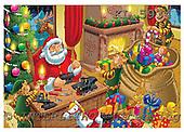 Interlitho, Eberle, Comics, CHRISTMAS SANTA, SNOWMAN, paintings, santa, workshop, KL5934,#X# Weihnachten, Navidad, illustrations, pinturas