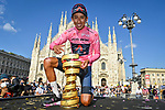 Race leader Maglia Rosa Egan Bernal (COL) Ineos Grenadiers wins the overall classification with the Trofeo Senza Fine at the end of Stage 21 of the 2021 Giro d'Italia, an individual time trial running 30.3km from Senago to Milan, Italy. 30th May 2021.  <br /> Picture: LaPresse/Fabio Ferrari   Cyclefile<br /> <br /> All photos usage must carry mandatory copyright credit (© Cyclefile   LaPresse/Fabio Ferrari)