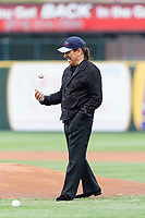 Actor Danny Trejo prepares to throw out the first pitch before a Midwest League game between the South Bend Cubs and the Cedar Rapids Kernels at Four Winds Field on May 7, 2019 in South Bend, Indiana. (Zachary Lucy/Four Seam Images)