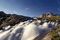 waterfall, river, Wind River Range, Bridger-Teton National Forest, WY, Wyoming, Waterfalls in the Wind River Range Mountains in the Bridger-Teton Nat'l Forest in Wyoming.