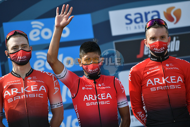Nairo Quintana (COL) and Team Arkea-Samsic at sign on before the start of Stage 1 of Tirreno-Adriatico Eolo 2021, running 156km from Lido di Camaiore to Lido di Camaiore, Italy. 10th March 2021. <br /> Photo: LaPresse/Gian Mattia D'Alberto | Cyclefile<br /> <br /> All photos usage must carry mandatory copyright credit (© Cyclefile | LaPresse/Gian Mattia D'Alberto)
