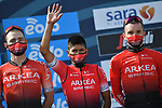 Nairo Quintana (COL) and Team Arkea-Samsic at sign on before the start of Stage 1 of Tirreno-Adriatico Eolo 2021, running 156km from Lido di Camaiore to Lido di Camaiore, Italy. 10th March 2021. <br /> Photo: LaPresse/Gian Mattia D'Alberto   Cyclefile<br /> <br /> All photos usage must carry mandatory copyright credit (© Cyclefile   LaPresse/Gian Mattia D'Alberto)