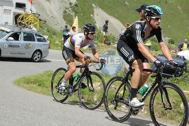 Bernhard Eisel (AUT) leads World Champion Mark Cavendish (GBR) Sky Procycling up one of the climbs during Stage 11 of the 99th edition of the Tour de France 2012, running 148km from Albertville to La Toussuire Les Sybelles, France. 12th July 2012.<br /> (Photo by Thomas van Bracht/NEWSFILE)