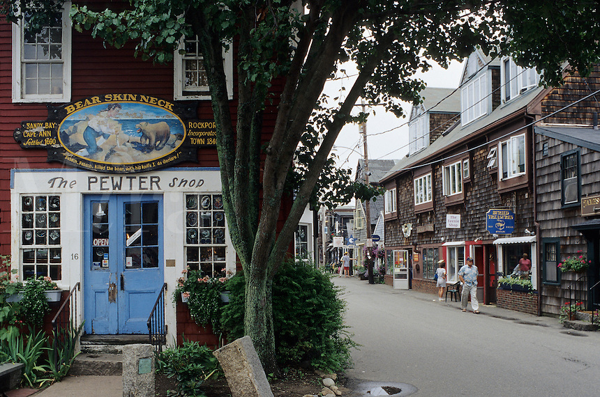"Cape Cod, Massachusetts.Picturesque shops on ""Bearskin Neck"""