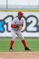 Greeneville Reds second baseman Jonathan Willems (15) during the first game of a doubleheader against the Princeton Rays on July 25, 2018 at Hunnicutt Field in Princeton, West Virginia.  Princeton defeated Greeneville 6-4.  (Mike Janes/Four Seam Images)