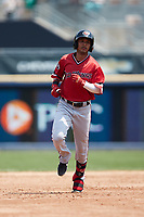 Jecksson Flores (8) of the Rochester Red Wings rounds the bases after hitting a home run against the Scranton/Wilkes-Barre RailRiders at PNC Field on July 25, 2021 in Moosic, Pennsylvania. (Brian Westerholt/Four Seam Images)