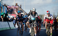 Mark Cavendish (GBR/Ettix-QuickStep) beats Alexander Kristoff (NOR/Katusha) and Elia Viviani (ITA/Sky) on the finish line and wins Kuurne for a 2nd time in his career<br /> <br /> 67th Kuurne-Brussels-Kuurne 2015