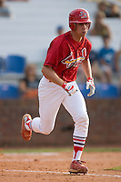 Robert Stock #35 of the Johnson City Cardinals hustles down the first base line versus the Bluefield Orioles at Howard Johnson Field August 1, 2009 in Johnson City, Tennessee. (Photo by Brian Westerholt / Four Seam Images)