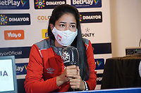 BOGOTA - COLOMBIA, 12-12-2020: Fany Gauto de Santa Fe durante rueda de prensa previo al encuentro entre Independiente Santa Fe Y América de Cali por la final vuelta como parte de la Liga Femenina BetPlay DIMAYOR 2020 en la ciudad de Bogotá. / Fany Gauto of Santa Fe during press conference prior a second leg final match between Independiente Santa Fe and America de Cali as part of Women's BetPlay DIMAYOR 2020 League in Bogota city. Photo: VizzorImage / Daniel Garzon / Cont