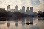 Rowing, Boat House Row, Philadelphia, Pennsylvania, sunrise, downtown skyline, Schuylkill River,