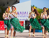 Hula performance with puili at the 2011 Kauai Polynesian Festival