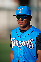 Tampa Tarpons Daniel Barrios (2) before a game against the Lakeland Flying Tigers on April 6, 2018 at Publix Field at Joker Marchant Stadium in Lakeland, Florida.  Lakeland defeated Tampa 6-5.  (Mike Janes/Four Seam Images)