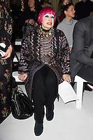 Zandra Rhodes<br /> at the Jasper Conran AW17 show as part of London Fashion Week AW17 at Claridges, London.<br /> <br /> <br /> ©Ash Knotek  D3230  17/02/2017