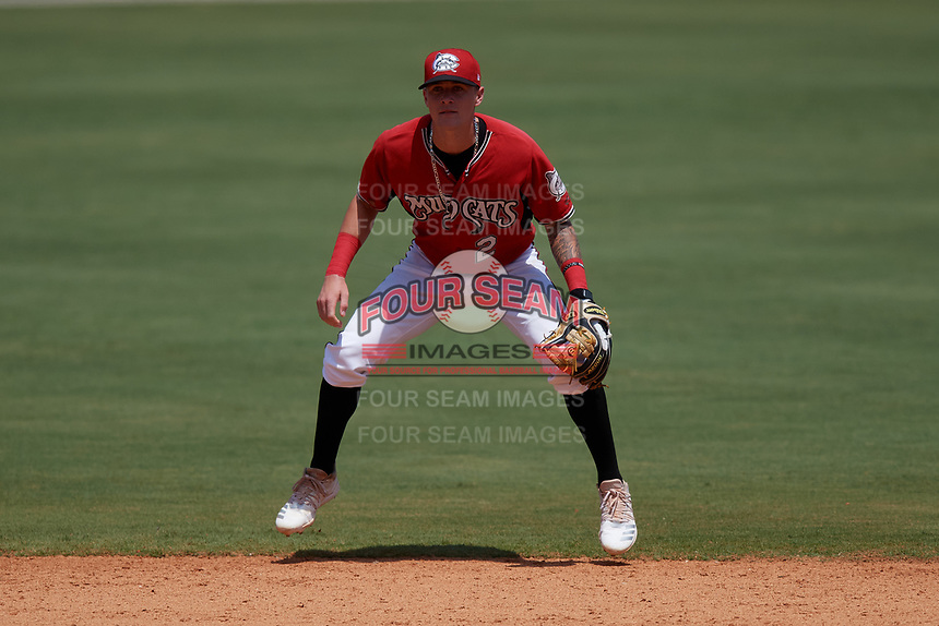 Carolina Mudcats shortstop Brice Turang (2) during a Carolina League game against the Winston-Salem Dash on August 14, 2019 at Five County Stadium in Zebulon, North Carolina.  Winston-Salem defeated Carolina 4-2.  (Mike Janes/Four Seam Images)