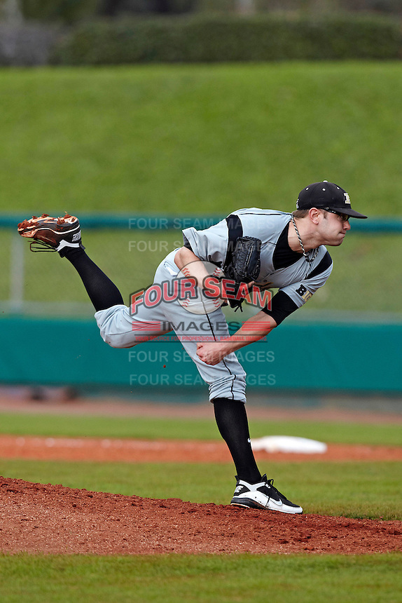 Purdue Boilermakers pitcher Calvin Gunter #35 delivers a pitch during a game against the Notre Dame Fighting Irish at the Big Ten/Big East Challenge at Al Lang Stadium on February 19, 2012 in St. Petersburg, Florida.  (Mike Janes/Four Seam Images)
