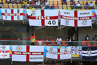 England flags hang from the stands inside the Arena da Amazonia